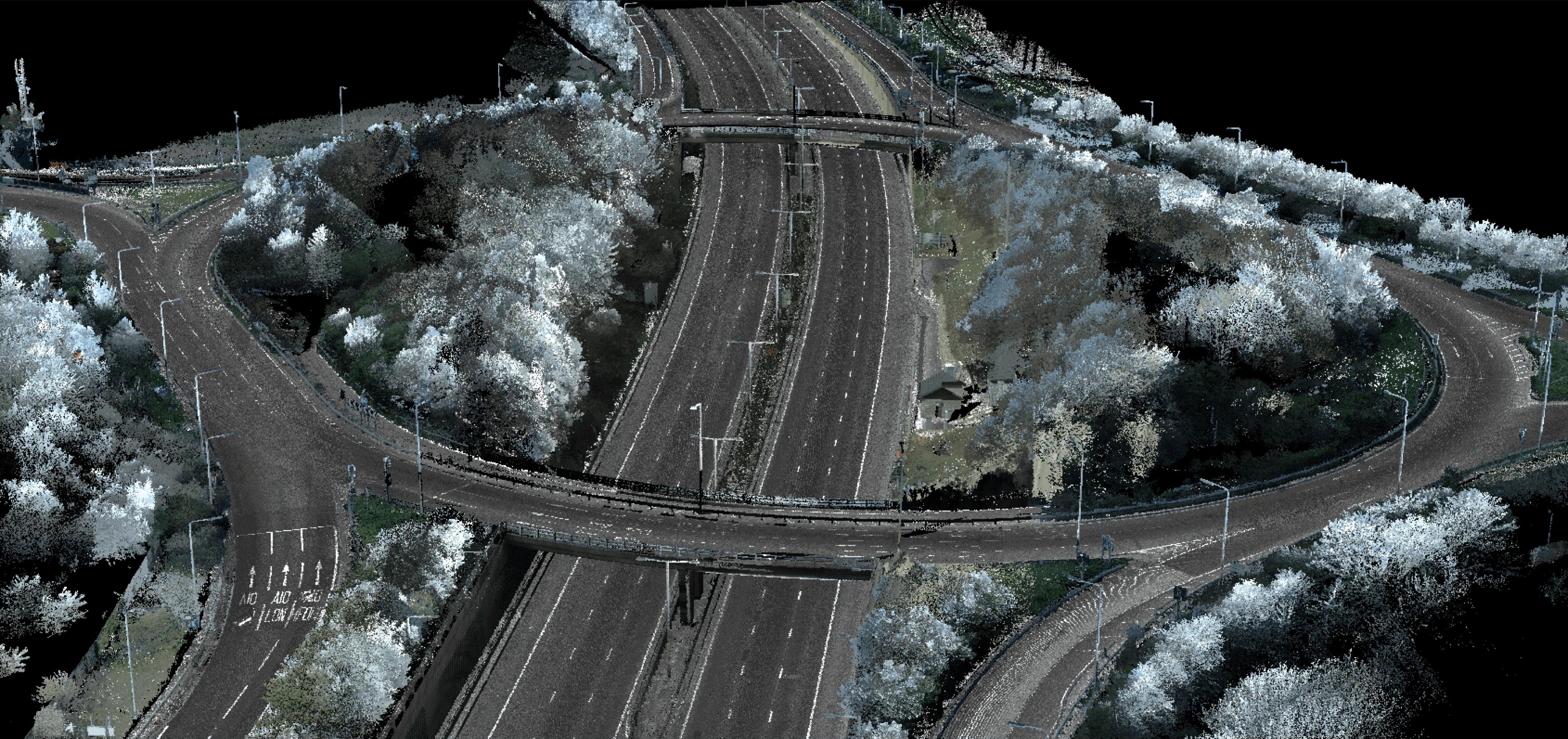 remote sensing data image of highway interchange