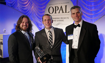 Moon and his team at the OPAL awards