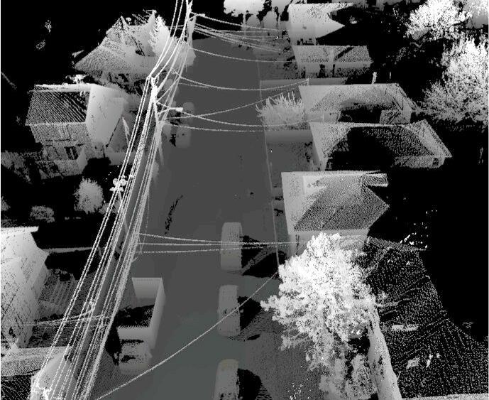 lidar data image of power lines