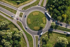 aerial photo of traffic calming roundabout