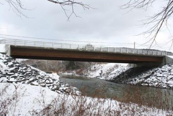 winter scene of bridge