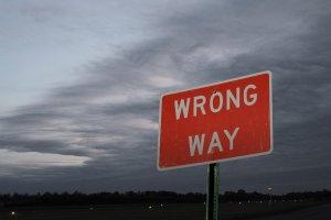 """road sign reading """"wrong way"""""""