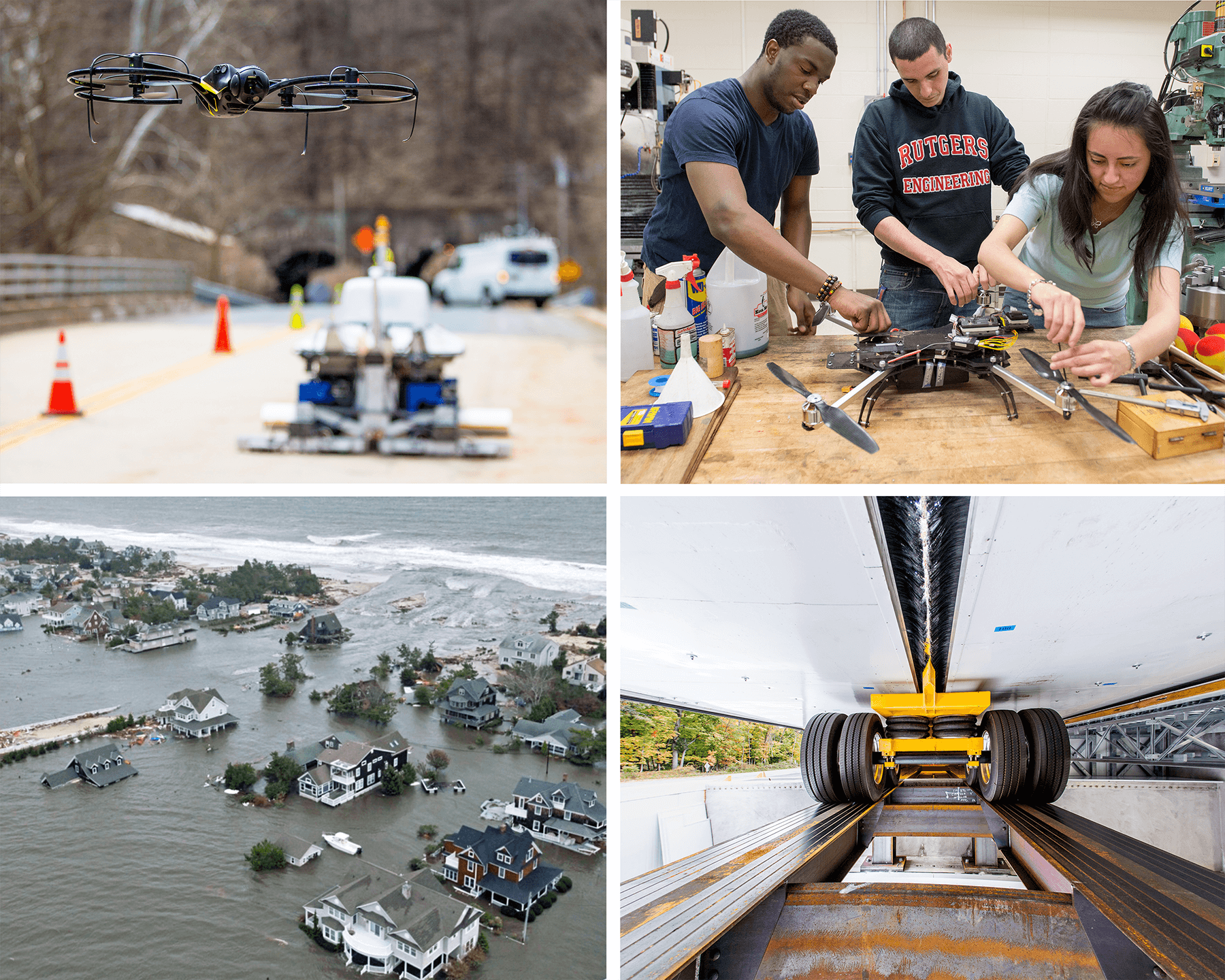 photos of CAIT technologies, Hurricane Sandy, and students building a drone