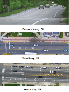 Figure 2 is three photo representations of places where road diets have been implemented around New Jersey
